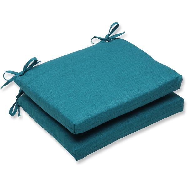 Pillow Perfect Outdoor Teal Squared Corners Seat Cushion (Set of 2)