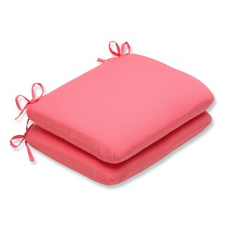 Pillow Perfect Outdoor Pink Rounded Corners Seat Cushion (Set of 2)