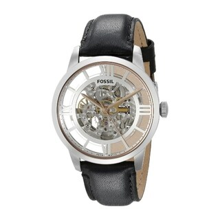 Fossil Men's 'Townsman' Black Automatic Skeleton Watch - Stainless Steel/Black
