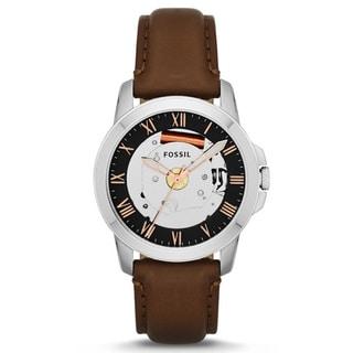Fossil Men's FS4870 Grant Round Brown Strap Watch