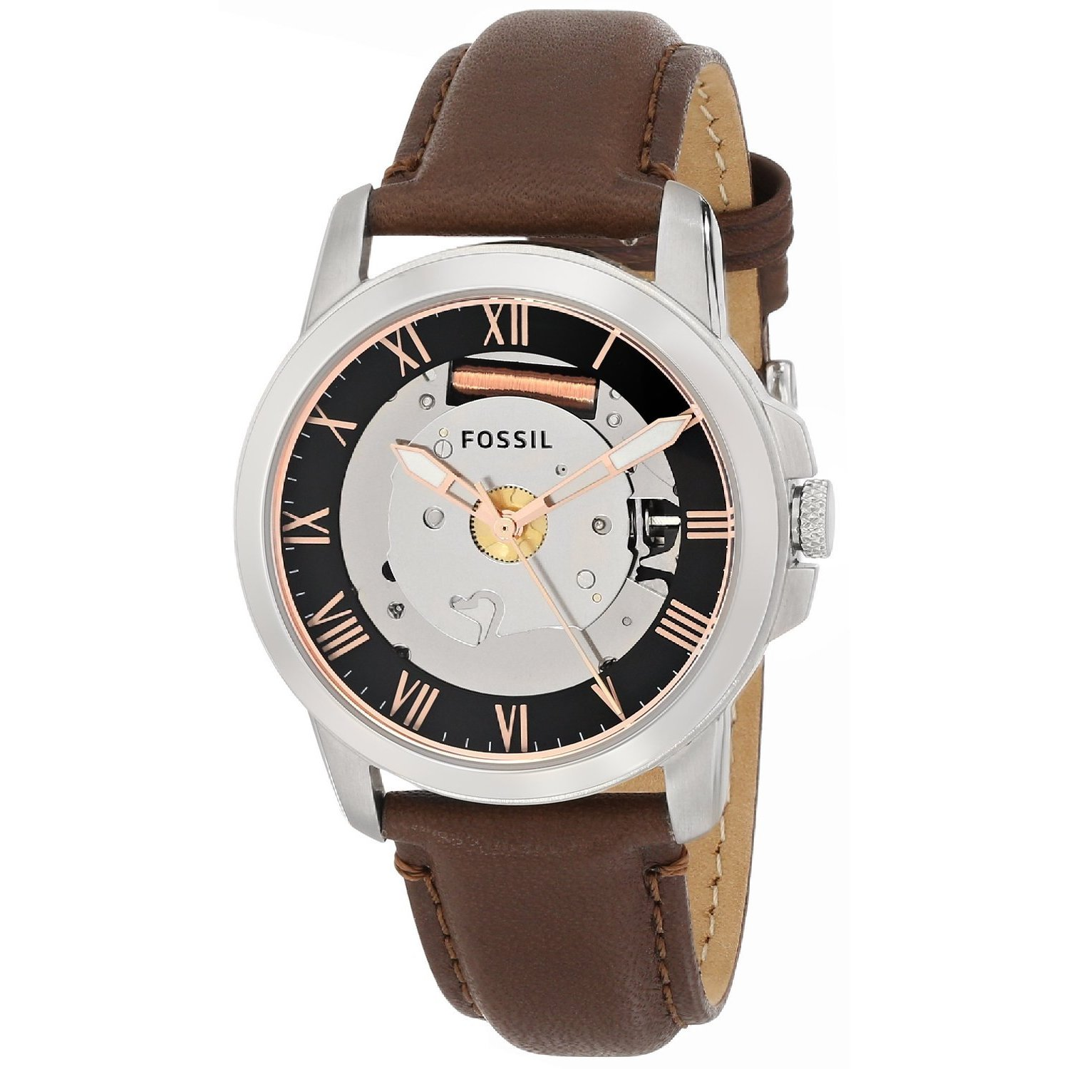 Fossil Men's FS4870 Grant Round Brown Strap Watch (Fossil...