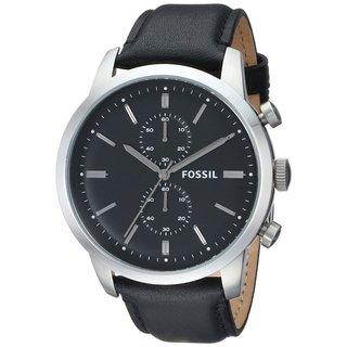 Fossil Men's 'Townsman' Black Leather Chronograph Watch