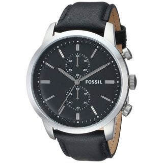Fossil Men's 'Townsman' Black Leather Chronograph Watch