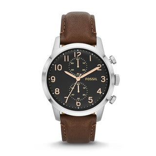 Fossil Men's 'Townsman' Black Dial Brown Leather Watch