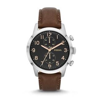 Fossil Men's 'Townsman' Black Dial Brown Watch