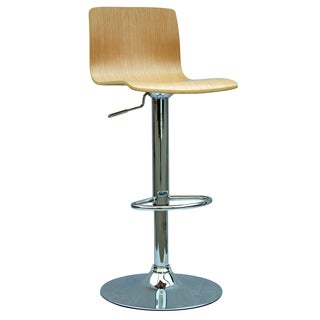 Somette Oak Bent Wood Pneumatic Gas Lift Adjustable Swivel Stool