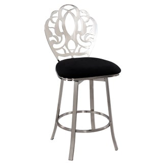 Somette Laser Cut Back Memory Swivel Bar Stool
