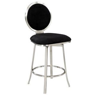 Somette Black Upholstered Round Back Memory Swivel Counter Stool