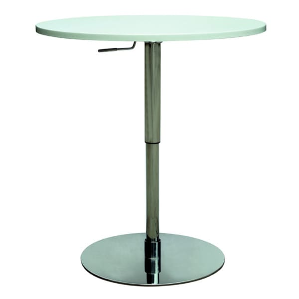 Somette Chrome White Pneumatic Gas Lift Adjustable Height Pub Table