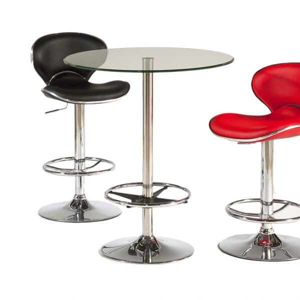 30 Round High Top Restaurant Cafe Bar Table And Cherry: Shop Somette Clear 30-inch Round Glass Top Pub Table