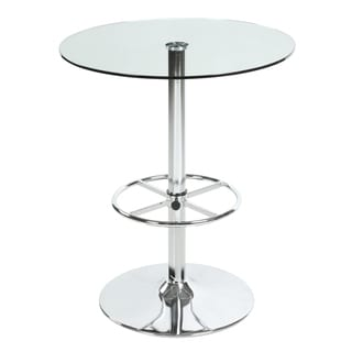 Somette Clear 30 Inch Round Glass Top Pub Table