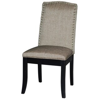 Somette Taupe Side Chair with Espresso finish (Set of 2)