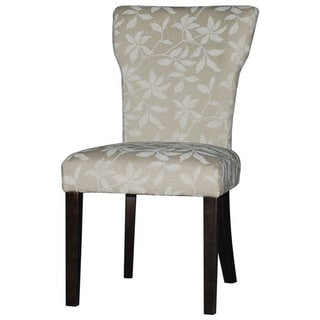 Somette Espresso/Neutral Floral Curved Back Parson Side Chair (Set of 2)