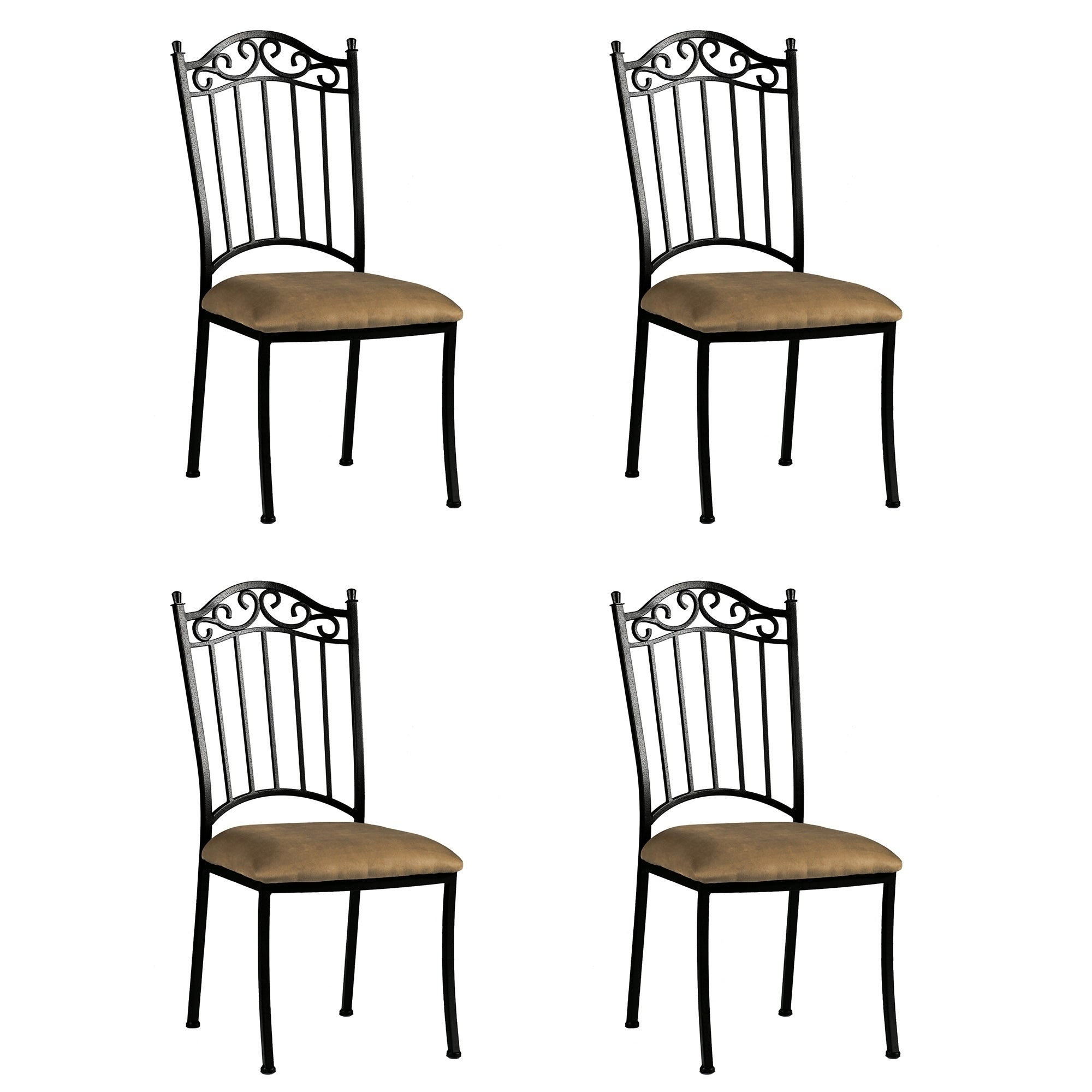 Somette Antique Taupe Suede Wrought Iron Dining Chair (Se...