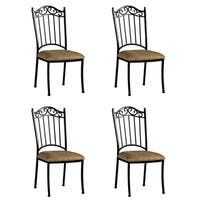 Somette Antique Taupe Suede Wrought Iron Dining Chair (Set of 4) - N/A
