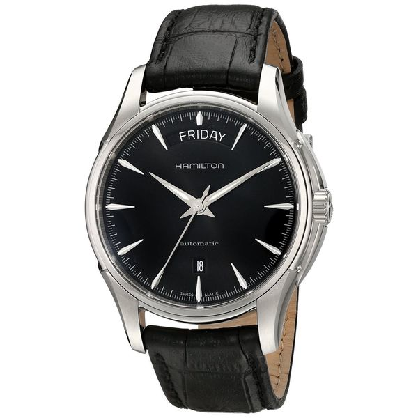 Hamilton Men's 'Jazzmaster' Black Dial Leather Strap Watch. Opens flyout.