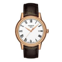 Tissot Men's T085.410.36.013.00 'Carson' White Dial Rose Goldtone Leather Strap Watch
