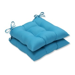 Pillow Perfect Outdoor Veranda Turquoise Wrought Iron Seat Cushion (Set of 2)