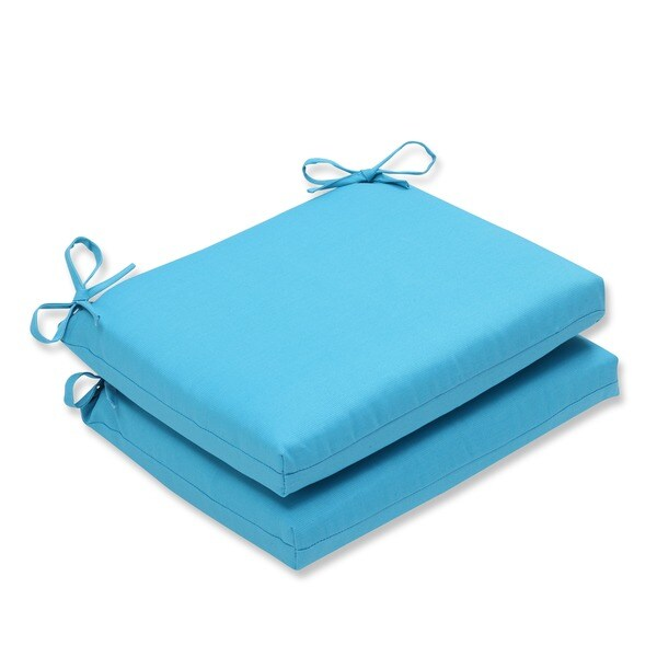 Pillow Perfect Outdoor Veranda Turquoise Squared Corners Seat Cushion (Set of 2)