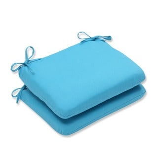 Pillow Perfect Outdoor Veranda Turquoise Rounded Corners Seat Cushion (Set of 2)