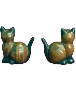 Handcarved Wooden Pair of Cats