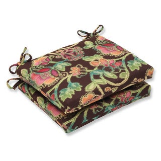 Pillow Perfect Squared Corners Seat Cushion with Sunbrella Vagabond Paradise Fabric (Set of 2)