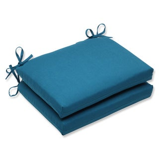 Pillow Perfect Squared Corners Seat Cushion with Sunbrella Spectrum Peacock Fabric (Set of 2)