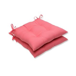 Pillow Perfect Outdoor Pink Wrought Iron Seat Cushion (Set of 2)
