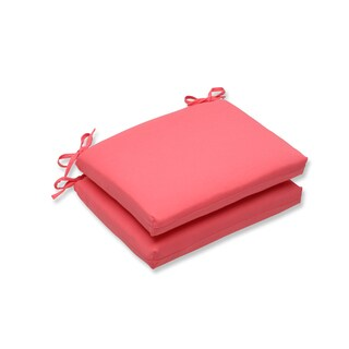 Pillow Perfect Outdoor Pink Squared Corners Seat Cushion (Set of 2)