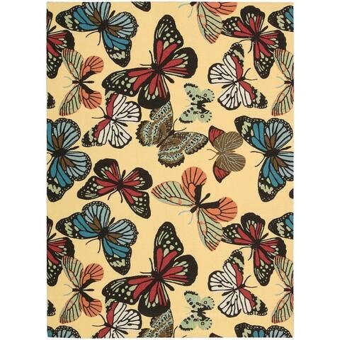 Nourison Home & Garden RS018 Butterfly Indoor/Outdoor Area Rug