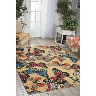 "Nourison Home and Garden Indoor/Outdoor Yellow Rug (5'3"" x 7'5"") - 5'3 x 7'5"