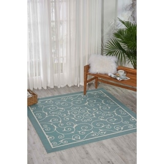 "Nourison Home and Garden Indoor/Outdoor Light Blue Rug Rug (5'3"" x 7'5"")"