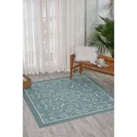 Nourison Home and Garden Indoor/Outdoor Light Blue Rug (10' x 13')