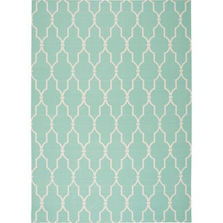 "Nourison Home & Garden Indoor/Outdoor Aqua Rug (4'3"" x 6'3"") - 4'3 x 6'3"