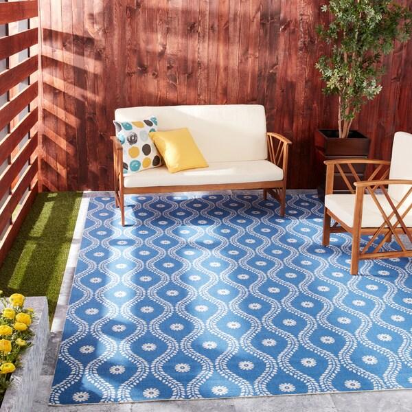 """Nourison Home and Garden Indoor/Outdoor Navy Rug (7'9"""" x 10'10"""") - 7'9 x 10'10"""