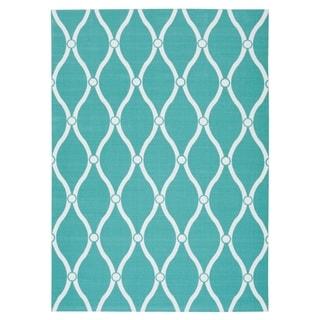 Nourison Home & Garden RS089 Geometric Indoor/Outdoor Area Rug (79 x 1010 - Aqua)