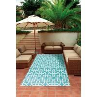 Nourison Aqua and Ivory Geometric Indoor/Outdoor Area Rug - 5'3 x 7'5