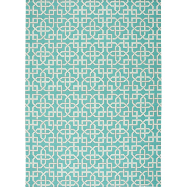 Nourison Home and Garden Indoor/Outdoor Aqua Rug (7'9 x 10'10) - 7'9 x 10'10