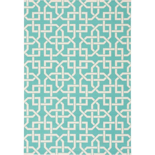 Nourison Home and Garden Indoor/Outdoor Aqua Rug (10 x 13) - 10' x 13'