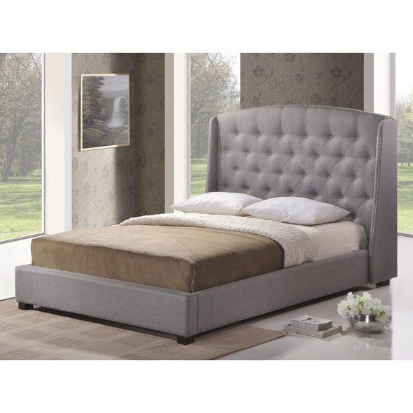 Shop Ipswich Queen Dark Grey Linen Modern Platform Bed
