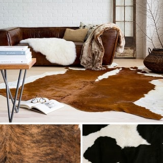 Hand Crafted Leather Safari Area Rug-(7' Square)