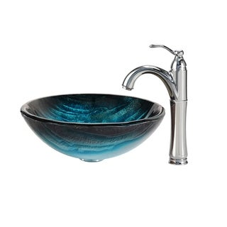 Kraus Ladon Glass Vessel Sink and Riviera Faucet