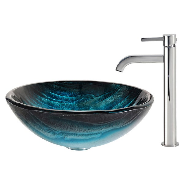 KRAUS Ladon Glass Vessel Sink in Blue with Ramus Faucet
