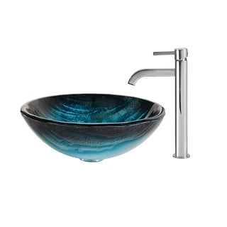 KRAUS Ladon Glass Vessel Sink in Blue with Ramus Faucet in Oil Rubbed Bronze