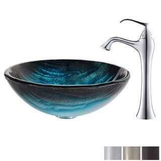 KRAUS Ladon Glass Vessel Sink in Blue with Ventus Faucet in Chrome