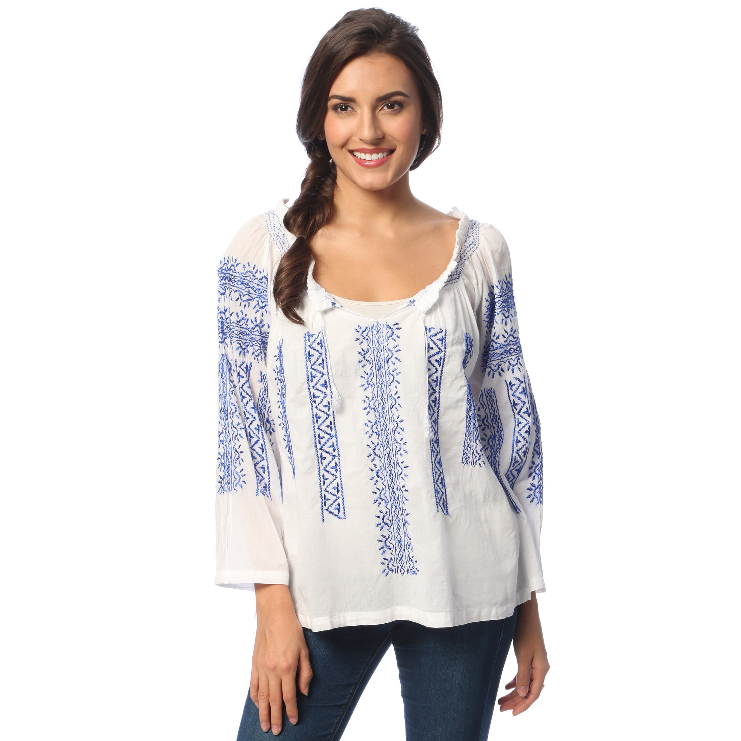 limited guantity famous brand get online La Cera Women's White/ Blue Hand-embroidered Peasant Top