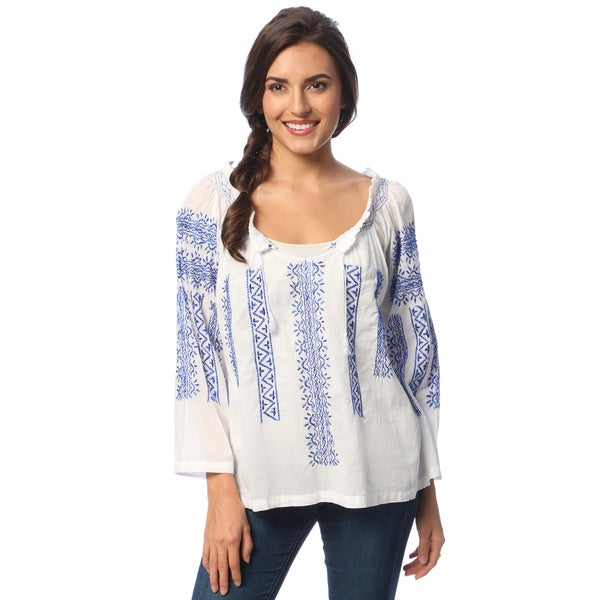 La Cera Women's White/ Blue Hand-embroidered Peasant Top. Opens flyout.