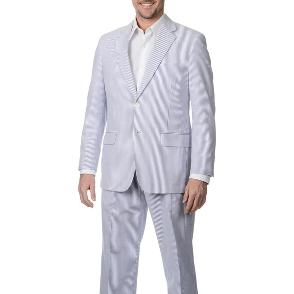 Palm Beach Men's 2-button Navy/ White Seersucker Jacket. Opens flyout.