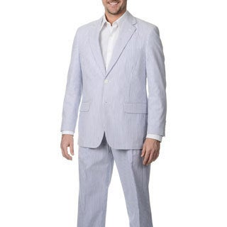 Palm Beach Men's 2-button Navy/ White Seersucker Jacket