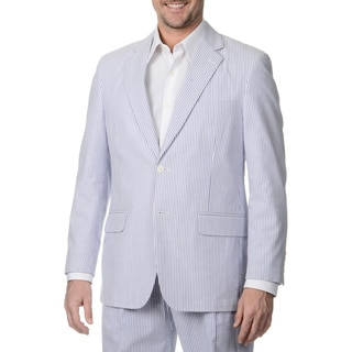 Palm Beach Men's Navy/ White Seersucker 2-button Double Vent Jacket